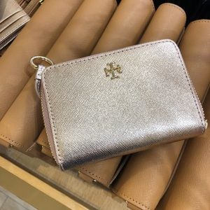 Tory Burch Rose Gold Key Compact Zippy Wallet
